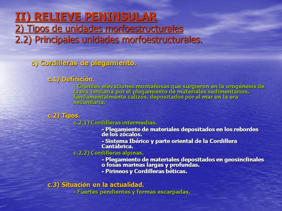 II) RELIEVE PENINSULAR 2) Tipos de unidades morfoestructurales 2.2) Principales unidades morfoestructurales. c) Cordilleras de plegamiento. c.1) Defin
