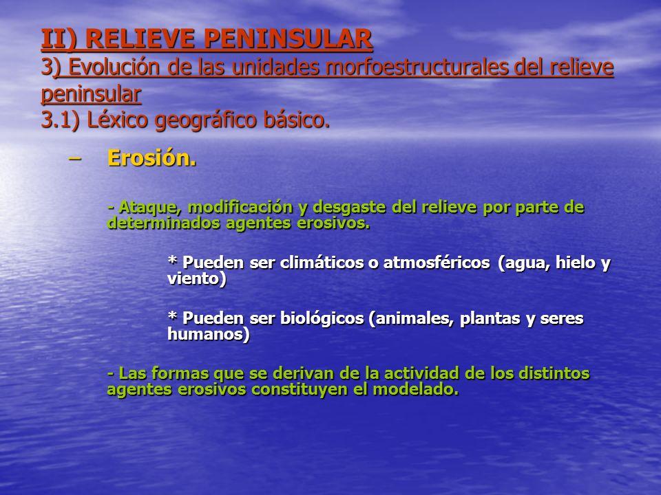 II) RELIEVE PENINSULAR 3) Evolución de las unidades morfoestructurales del relieve peninsular 3.1) Léxico geográfico básico. –Erosión. - Ataque, modif