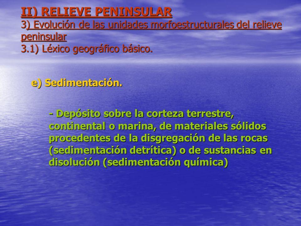 II) RELIEVE PENINSULAR 3) Evolución de las unidades morfoestructurales del relieve peninsular 3.1) Léxico geográfico básico. e) Sedimentación. - Depós