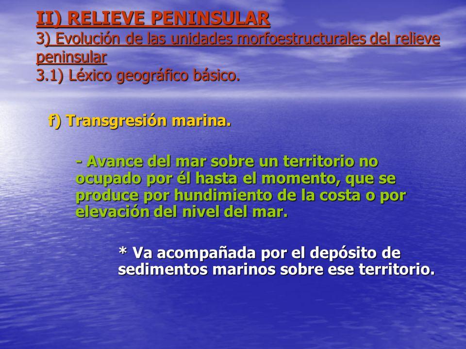 II) RELIEVE PENINSULAR 3) Evolución de las unidades morfoestructurales del relieve peninsular 3.1) Léxico geográfico básico. f) Transgresión marina. -