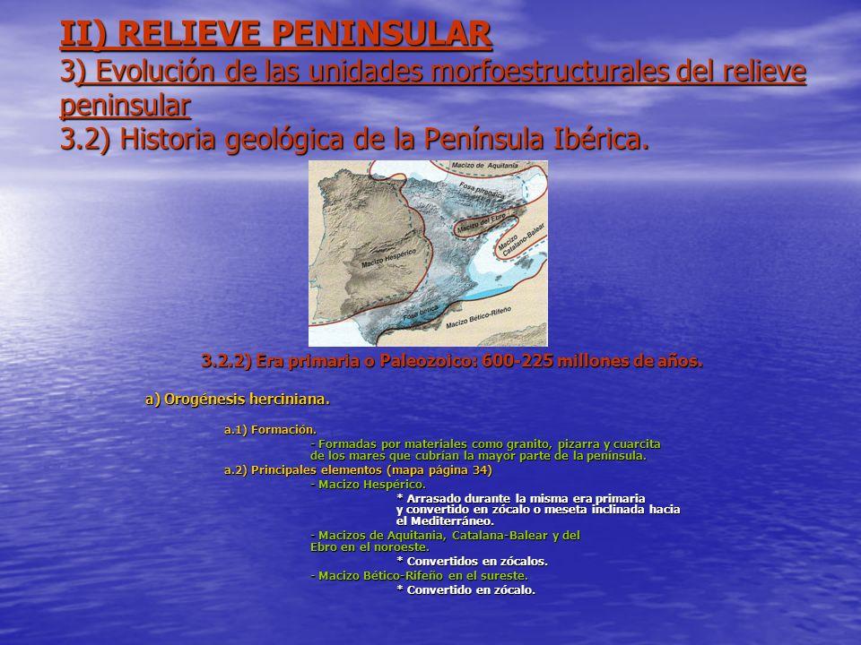 II) RELIEVE PENINSULAR 3) Evolución de las unidades morfoestructurales del relieve peninsular 3.2) Historia geológica de la Península Ibérica. 3.2.2)