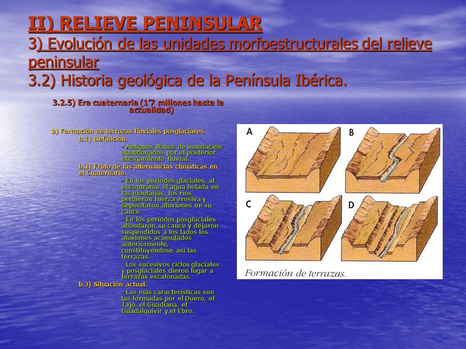 II) RELIEVE PENINSULAR 3) Evolución de las unidades morfoestructurales del relieve peninsular 3.2) Historia geológica de la Península Ibérica. 3.2.5)