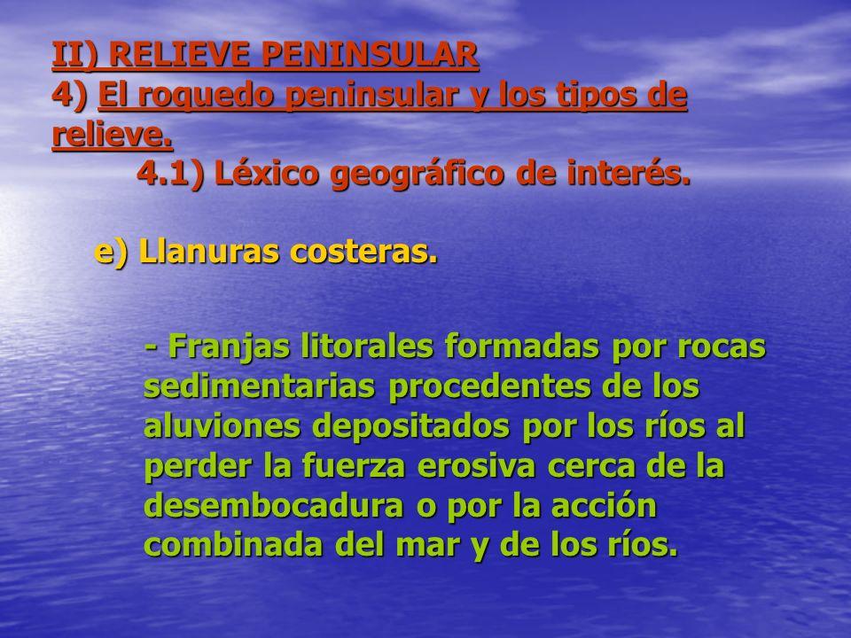 II) RELIEVE PENINSULAR 4) El roquedo peninsular y los tipos de relieve. 4.1) Léxico geográfico de interés. e) Llanuras costeras. - Franjas litorales f