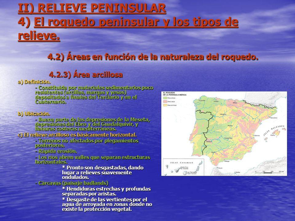 II) RELIEVE PENINSULAR 4) El roquedo peninsular y los tipos de relieve. 4.2) Áreas en función de la naturaleza del roquedo. 4.2.3) Área arcillosa a) D