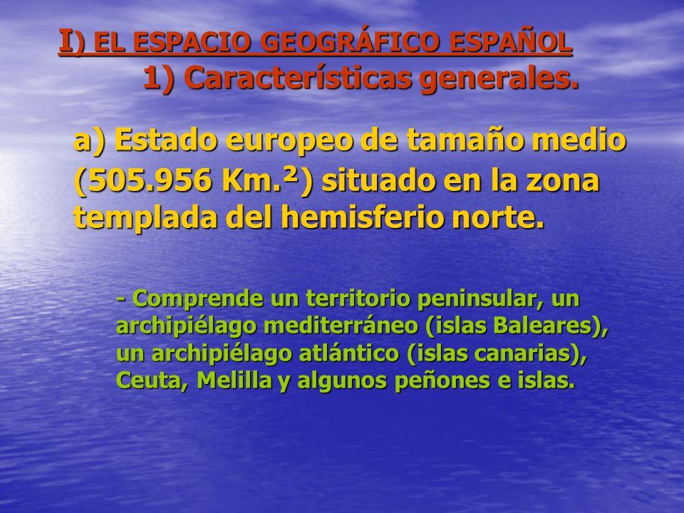 I ) EL ESPACIO GEOGRÁFICO ESPAÑOL 1) Características generales. a) Estado europeo de tamaño medio (505.956 Km. ² ) situado en la zona templada del hem