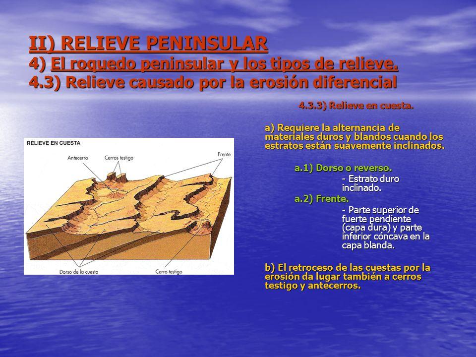 II) RELIEVE PENINSULAR 4) El roquedo peninsular y los tipos de relieve. 4.3) Relieve causado por la erosión diferencial 4.3.3) Relieve en cuesta. a) R