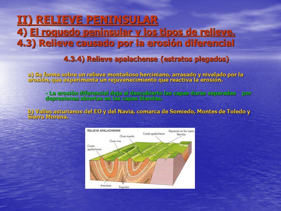 II) RELIEVE PENINSULAR 4) El roquedo peninsular y los tipos de relieve. 4.3) Relieve causado por la erosión diferencial 4.3.4) Relieve apalachense (es