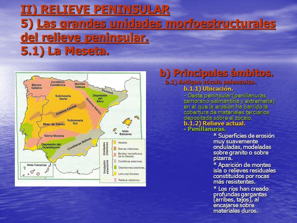 II) RELIEVE PENINSULAR 5) Las grandes unidades morfoestructurales del relieve peninsular. 5.1) La Meseta. b) Principales ámbitos. b.1) Antiguo zócalo