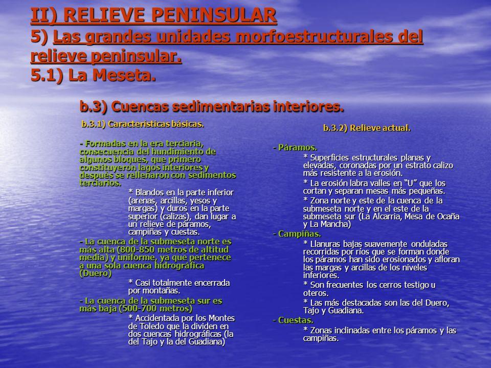 II) RELIEVE PENINSULAR 5) Las grandes unidades morfoestructurales del relieve peninsular. 5.1) La Meseta. b.3) Cuencas sedimentarias interiores. b.3.1