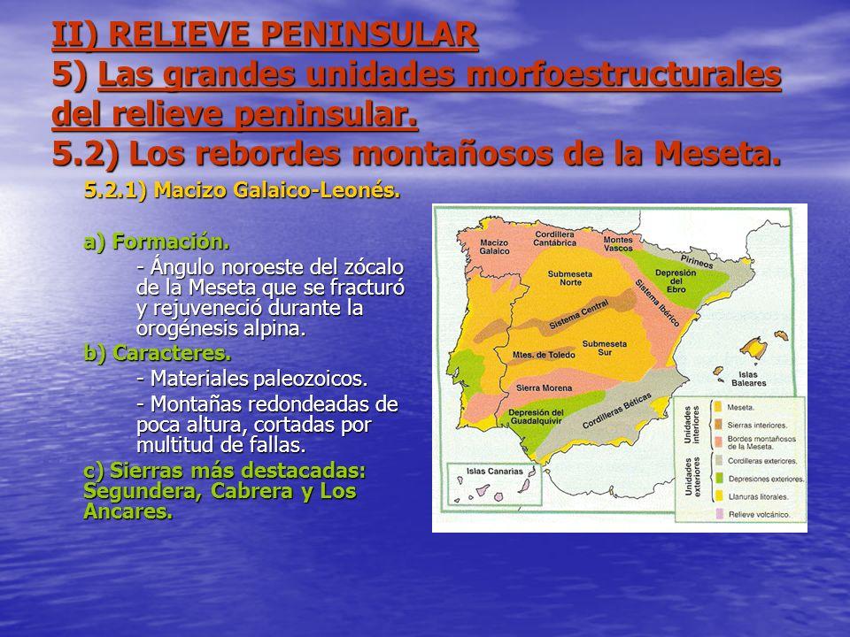 II) RELIEVE PENINSULAR 5) Las grandes unidades morfoestructurales del relieve peninsular. 5.2) Los rebordes montañosos de la Meseta. 5.2.1) Macizo Gal