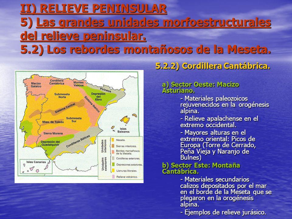 II) RELIEVE PENINSULAR 5) Las grandes unidades morfoestructurales del relieve peninsular. 5.2) Los rebordes montañosos de la Meseta. 5.2.2) Cordillera