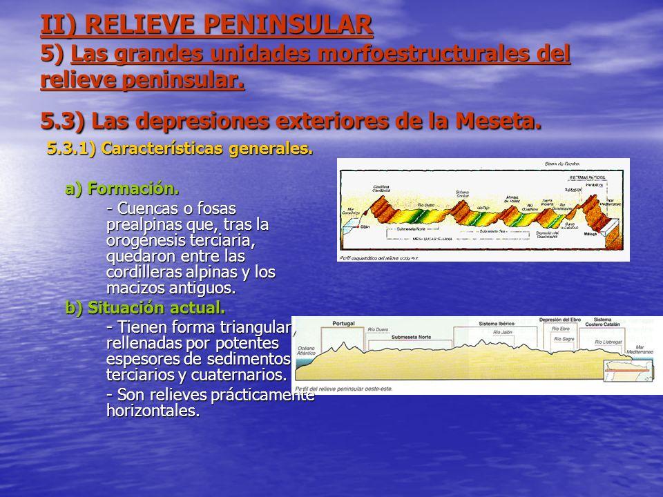 II) RELIEVE PENINSULAR 5) Las grandes unidades morfoestructurales del relieve peninsular. 5.3) Las depresiones exteriores de la Meseta. 5.3.1) Caracte