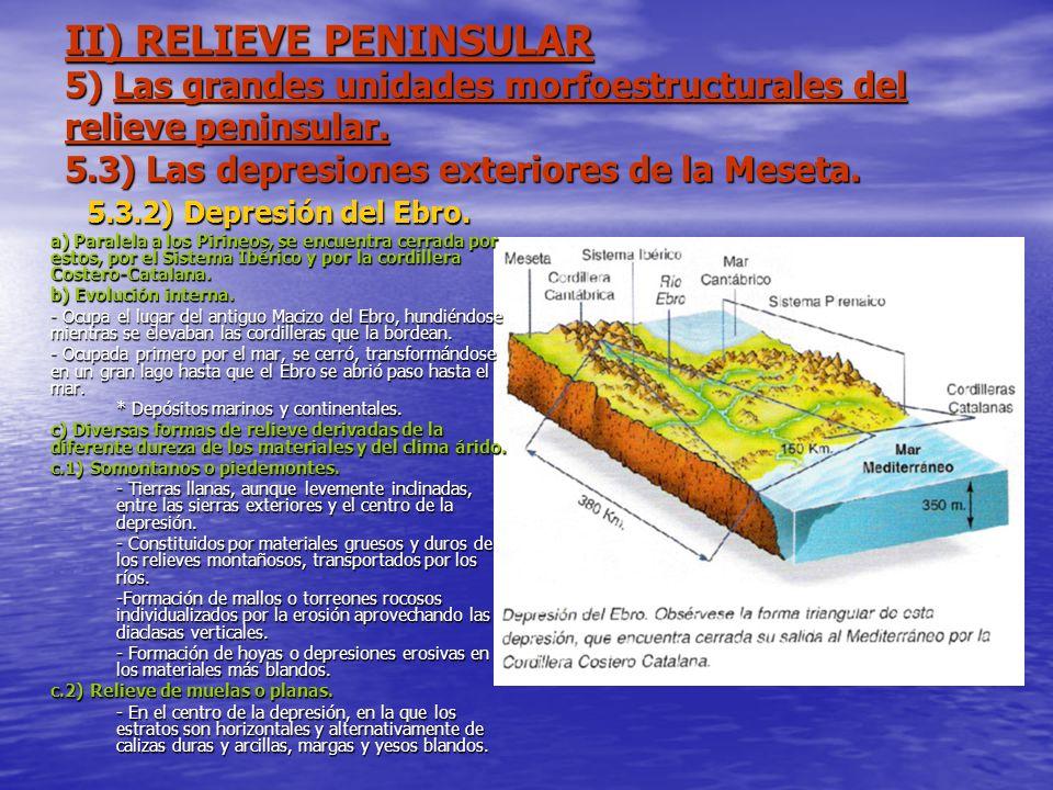 II) RELIEVE PENINSULAR 5) Las grandes unidades morfoestructurales del relieve peninsular. 5.3) Las depresiones exteriores de la Meseta. 5.3.2) Depresi