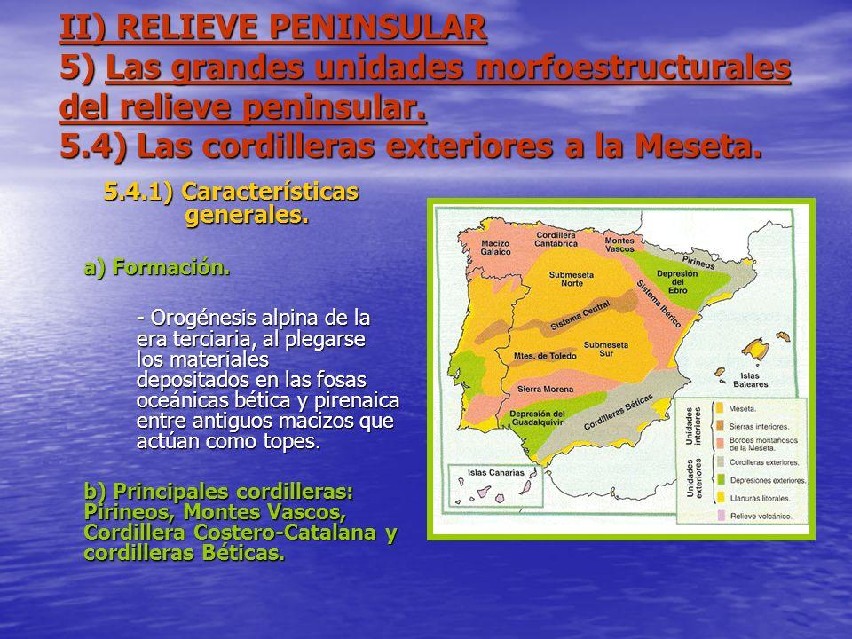 II) RELIEVE PENINSULAR 5) Las grandes unidades morfoestructurales del relieve peninsular. 5.4) Las cordilleras exteriores a la Meseta. 5.4.1) Caracter