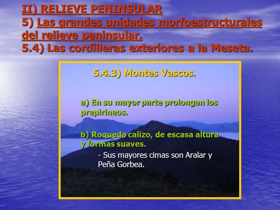 II) RELIEVE PENINSULAR 5) Las grandes unidades morfoestructurales del relieve peninsular. 5.4) Las cordilleras exteriores a la Meseta. 5.4.3) Montes V