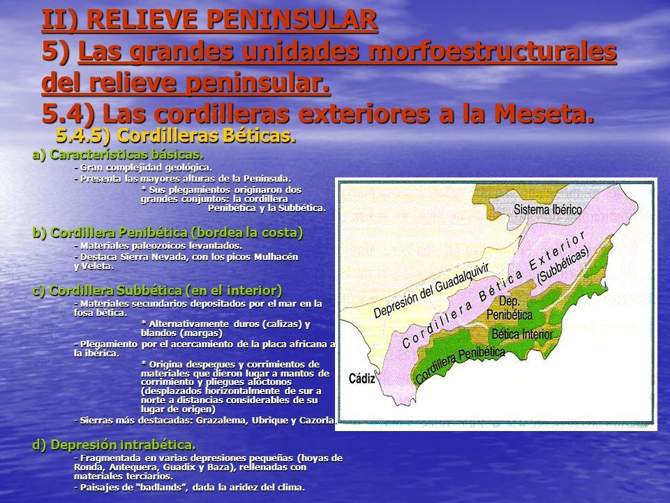 II) RELIEVE PENINSULAR 5) Las grandes unidades morfoestructurales del relieve peninsular. 5.4) Las cordilleras exteriores a la Meseta. 5.4.5) Cordille