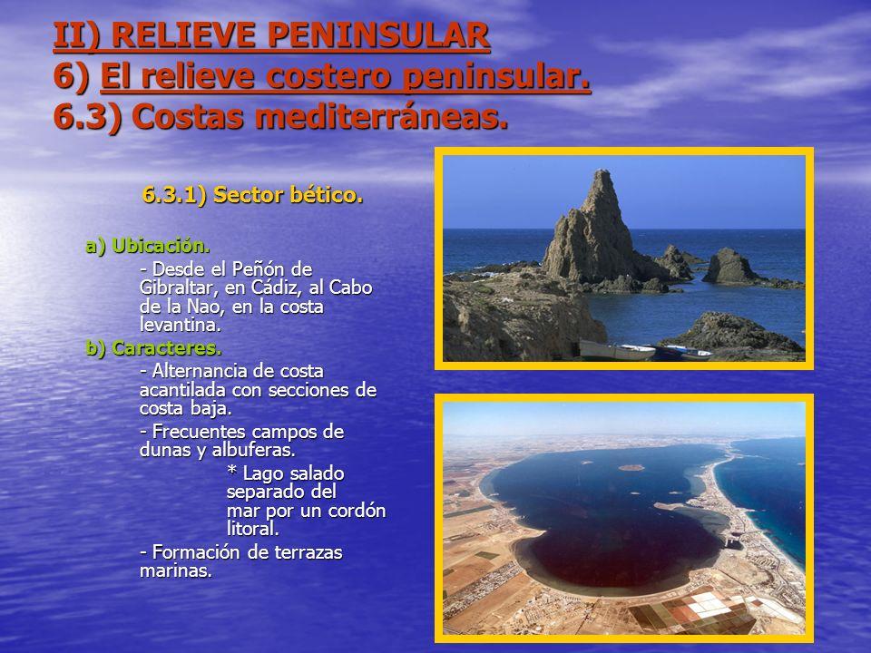 II) RELIEVE PENINSULAR 6) El relieve costero peninsular. 6.3) Costas mediterráneas. 6.3.1) Sector bético. a) Ubicación. - Desde el Peñón de Gibraltar,