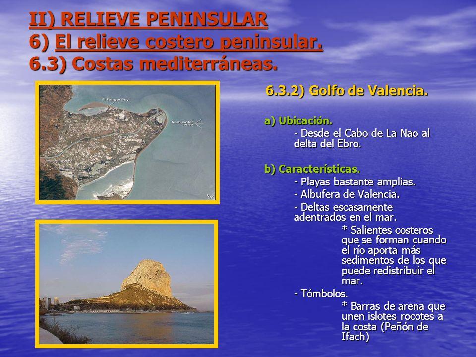 II) RELIEVE PENINSULAR 6) El relieve costero peninsular. 6.3) Costas mediterráneas. 6.3.2) Golfo de Valencia. a) Ubicación. - Desde el Cabo de La Nao