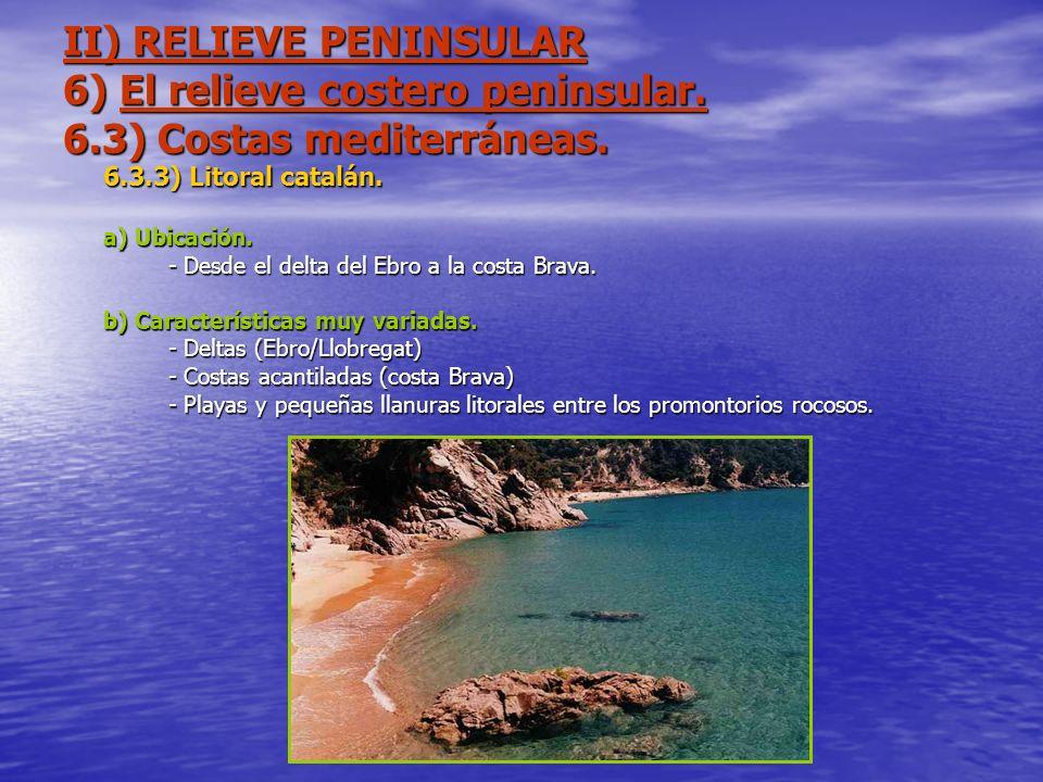 II) RELIEVE PENINSULAR 6) El relieve costero peninsular. 6.3) Costas mediterráneas. 6.3.3) Litoral catalán. a) Ubicación. - Desde el delta del Ebro a