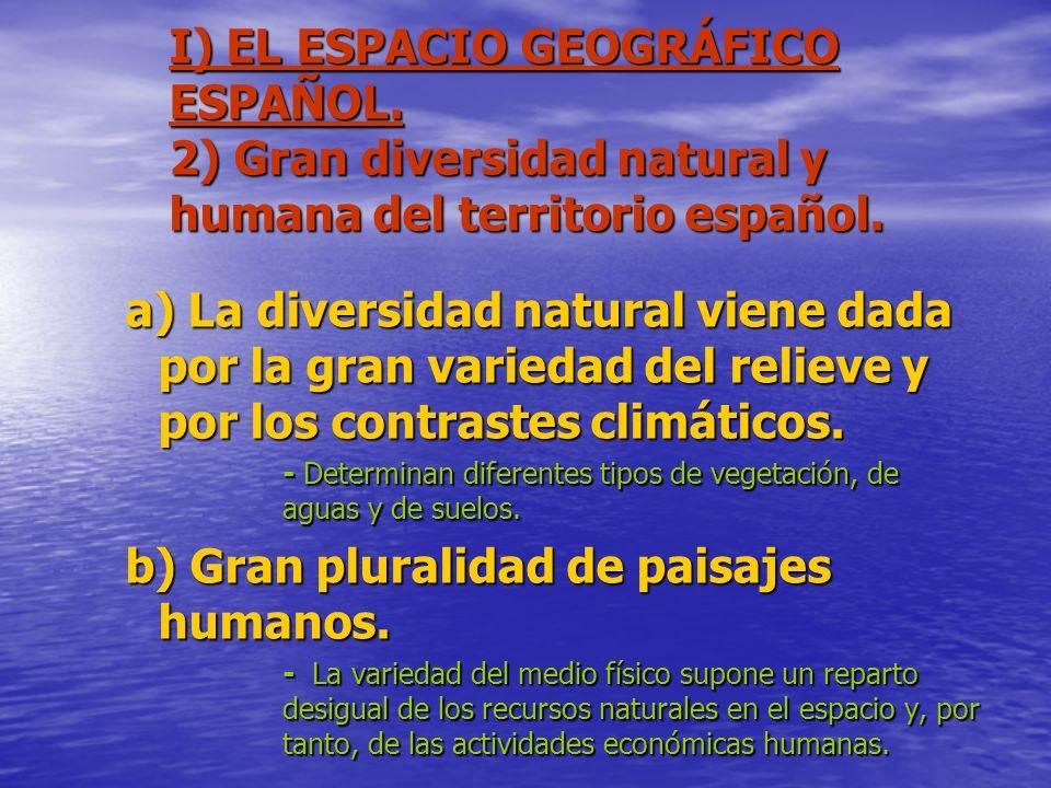 I) EL ESPACIO GEOGRÁFICO ESPAÑOL. 2) Gran diversidad natural y humana del territorio español. a) La diversidad natural viene dada por la gran variedad