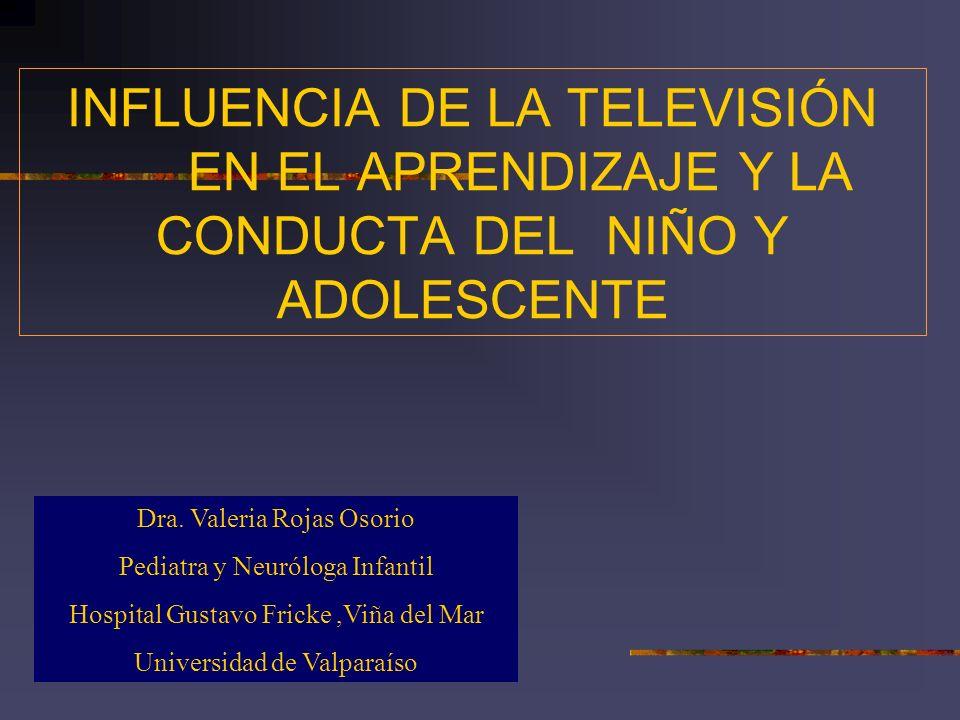 INFLUENCIA DE LA TELEVISIÓN EN EL APRENDIZAJE Y LA CONDUCTA DEL NIÑO Y ADOLESCENTE Dra. Valeria Rojas Osorio Pediatra y Neuróloga Infantil Hospital Gu