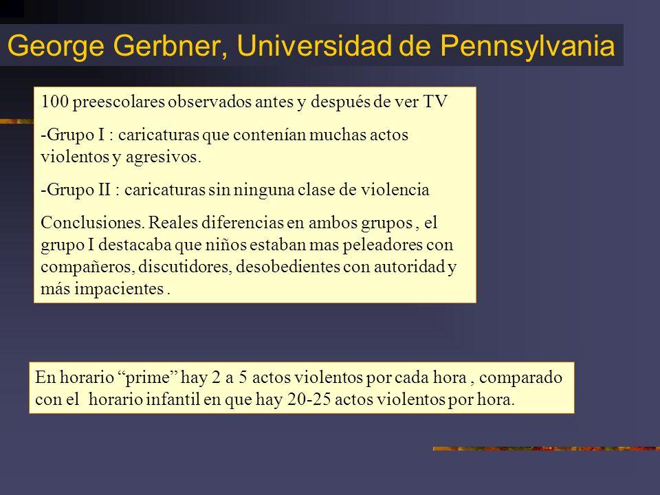 George Gerbner, Universidad de Pennsylvania 100 preescolares observados antes y después de ver TV -Grupo I : caricaturas que contenían muchas actos vi