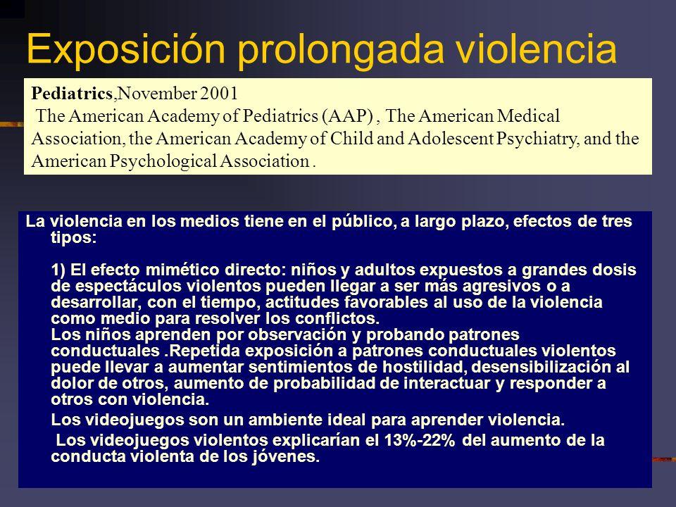 Exposición prolongada violencia La violencia en los medios tiene en el público, a largo plazo, efectos de tres tipos: 1) El efecto mimético directo: n