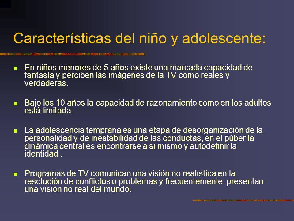 Características del niño y adolescente: En niños menores de 5 años existe una marcada capacidad de fantasía y perciben las imágenes de la TV como real