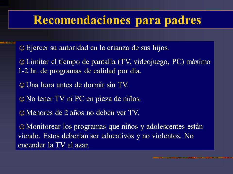 Recomendaciones para padres Ejercer su autoridad en la crianza de sus hijos. Limitar el tiempo de pantalla (TV, videojuego, PC) máximo 1-2 hr. de prog