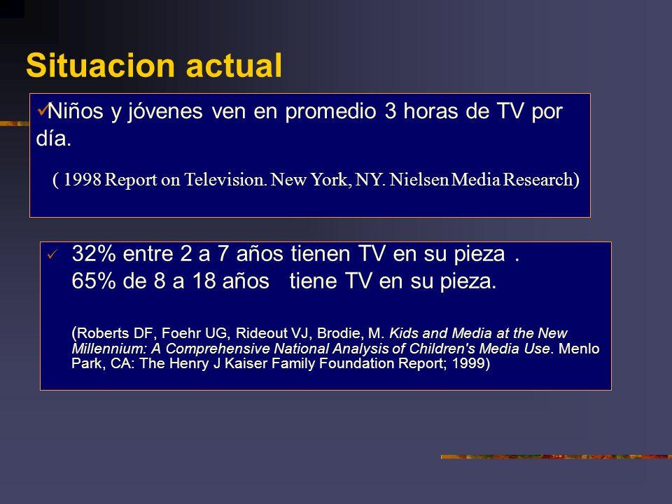 Situacion actual 32% entre 2 a 7 años tienen TV en su pieza. 65% de 8 a 18 años tiene TV en su pieza. ( Roberts DF, Foehr UG, Rideout VJ, Brodie, M. K