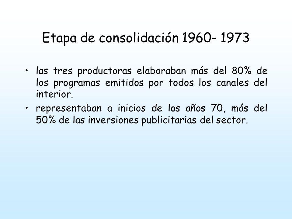 Etapa de consolidación 1960- 1973 las tres productoras elaboraban más del 80% de los programas emitidos por todos los canales del interior.