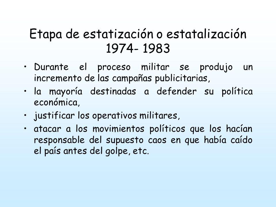 Etapa de estatización o estatalización 1974- 1983 La administración de los canales estuvo marcada por un monopolio militar, con una gestión ruinosa, unas contrataciones millonarias