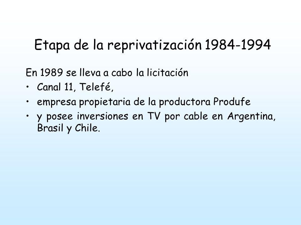 Etapa de la reprivatización 1984-1994 En 1989 se lleva a cabo la licitación Canal 11, Telefé, empresa propietaria de la productora Produfe y posee inversiones en TV por cable en Argentina, Brasil y Chile.
