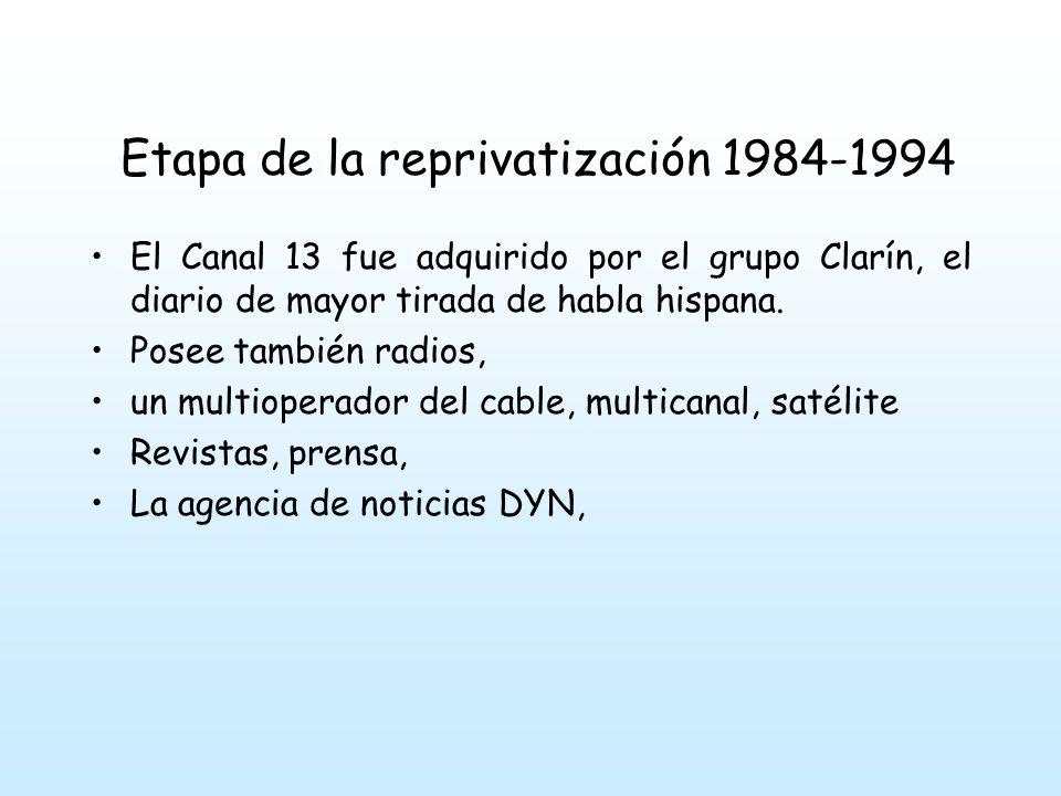Etapa de la reprivatización 1984-1994 Con la llegada de la democracia surgen nuevos formatos: humor + noticias, el exponente más claro de esta tendencia es CQC (caiga quien caiga) surgido en 1997