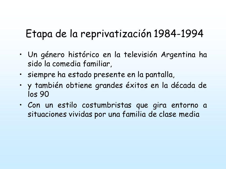 Etapa de la reprivatización 1984-1994 Un género histórico en la televisión Argentina ha sido la comedia familiar, siempre ha estado presente en la pantalla, y también obtiene grandes éxitos en la década de los 90 Con un estilo costumbristas que gira entorno a situaciones vividas por una familia de clase media