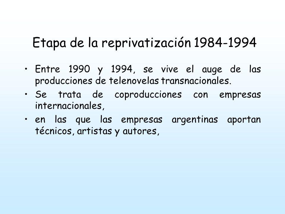 Etapa de la reprivatización 1984-1994 Entre 1990 y 1994, se vive el auge de las producciones de telenovelas transnacionales.