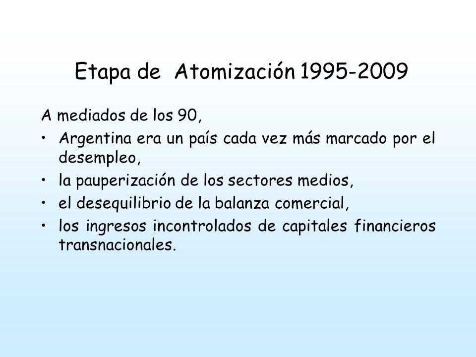 A mediados de los 90, Argentina era un país cada vez más marcado por el desempleo, la pauperización de los sectores medios, el desequilibrio de la balanza comercial, los ingresos incontrolados de capitales financieros transnacionales.