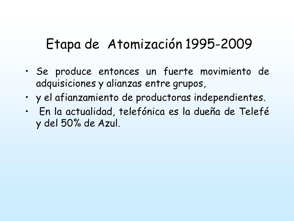 Etapa de Atomización 1995-2009 Se produce entonces un fuerte movimiento de adquisiciones y alianzas entre grupos, y el afianzamiento de productoras independientes.