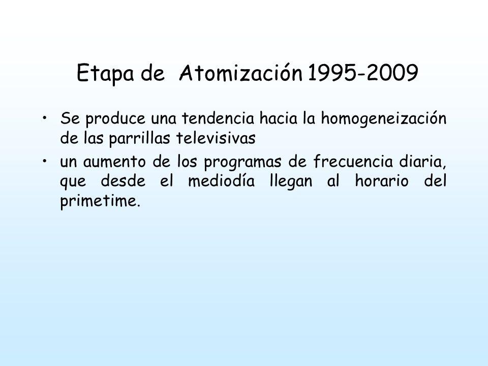 Etapa de Atomización 1995-2009 Esta tendencia a la frecuencia diaria no sólo se observa en la ficción sino en los programas de entretenimiento y por supuesto en los noticieros, la inmovilidad de la parrilla sólo se quiebra por la transmisión de partidos de fútbol.