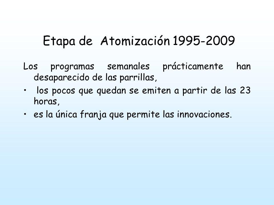 Etapa de Atomización 1995-2009 Los programas semanales prácticamente han desaparecido de las parrillas, los pocos que quedan se emiten a partir de las 23 horas, es la única franja que permite las innovaciones.