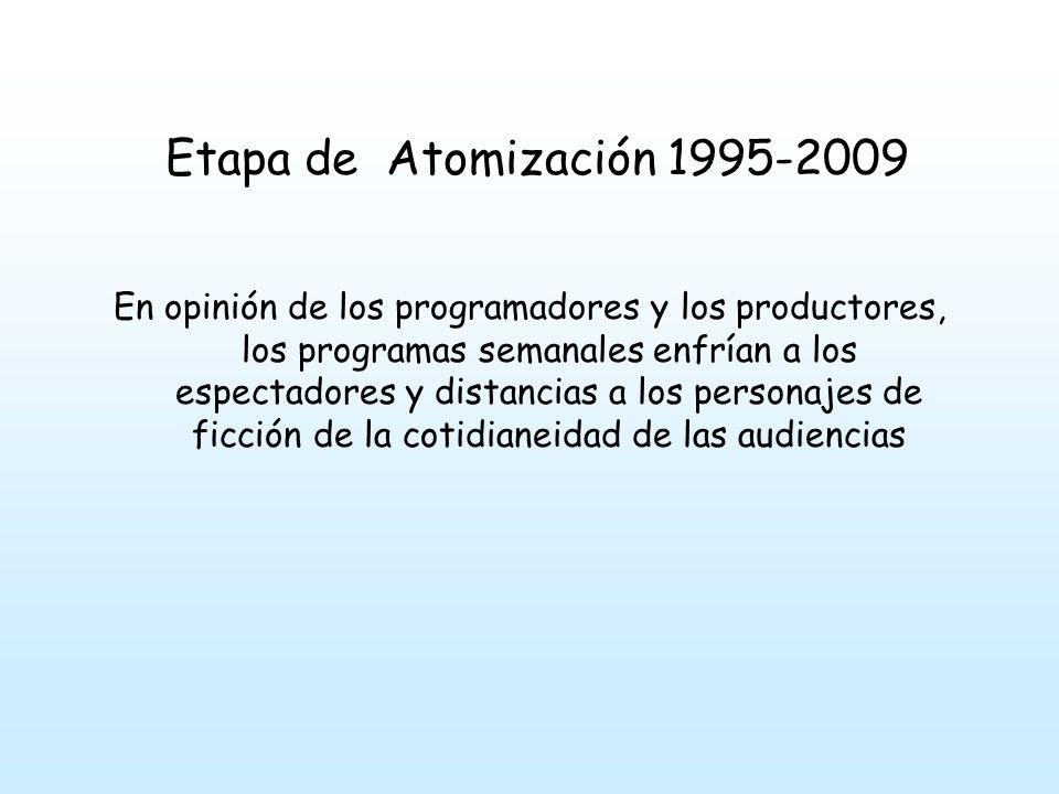 Etapa de Atomización 1995-2009 En opinión de los programadores y los productores, los programas semanales enfrían a los espectadores y distancias a los personajes de ficción de la cotidianeidad de las audiencias