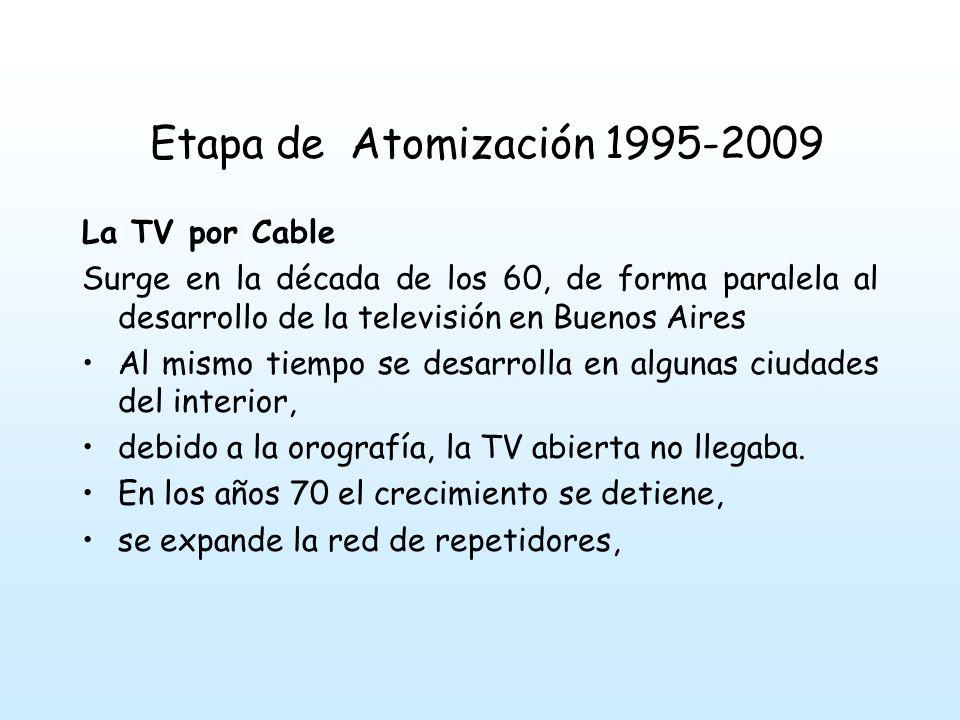 Etapa de Atomización 1995-2009 al final de los 70 inicios de los 80 cobra nuevo auge, con la aparición en Buenos Aires de dos empresas Cablevisión y VCC (vídeo cable comunicación).