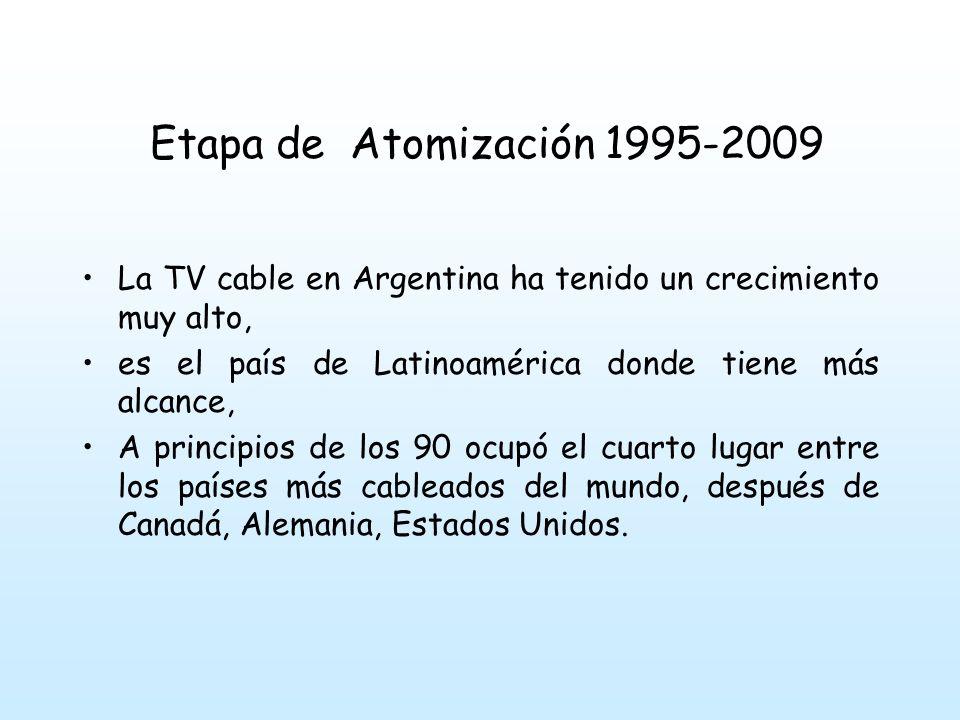 Etapa de Atomización 1995-2009 La TV cable en Argentina ha tenido un crecimiento muy alto, es el país de Latinoamérica donde tiene más alcance, A principios de los 90 ocupó el cuarto lugar entre los países más cableados del mundo, después de Canadá, Alemania, Estados Unidos.