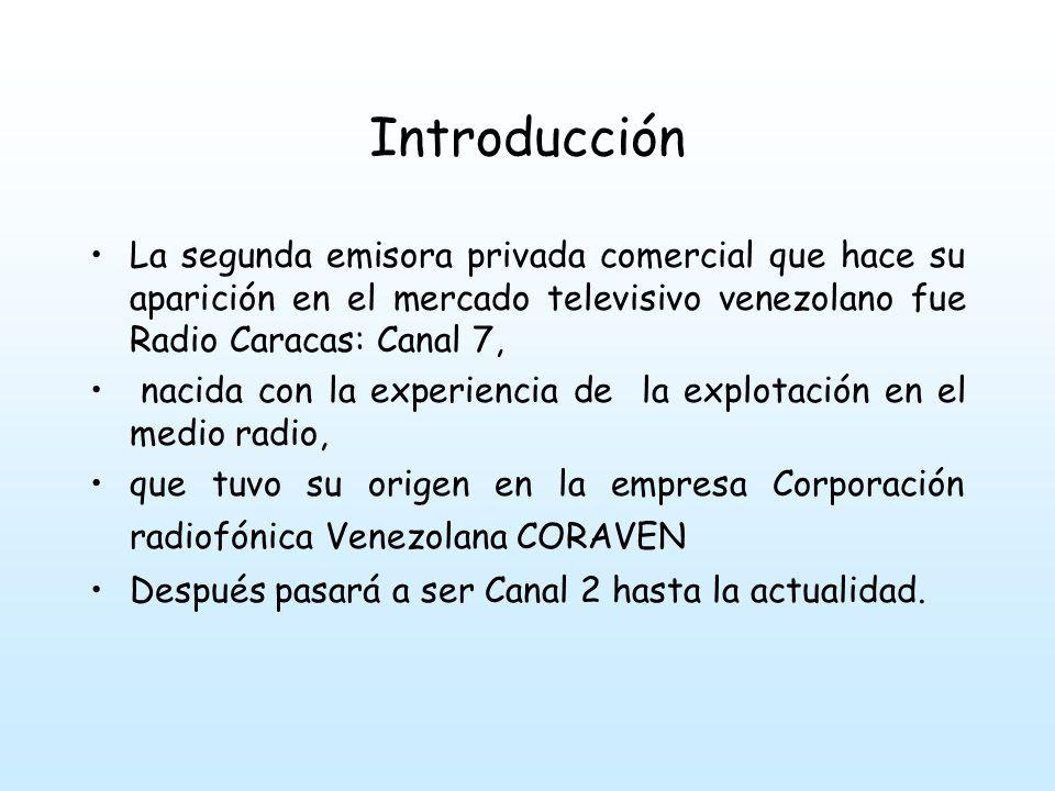 Introducción La segunda emisora privada comercial que hace su aparición en el mercado televisivo venezolano fue Radio Caracas: Canal 7, nacida con la experiencia de la explotación en el medio radio, que tuvo su origen en la empresa Corporación radiofónica Venezolana CORAVEN Después pasará a ser Canal 2 hasta la actualidad.