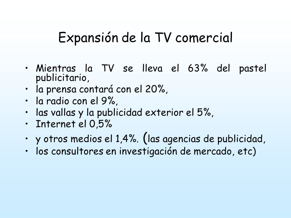 Expansión de la TV comercial Mientras la TV se lleva el 63% del pastel publicitario, la prensa contará con el 20%, la radio con el 9%, las vallas y la publicidad exterior el 5%, Internet el 0,5% y otros medios el 1,4%.