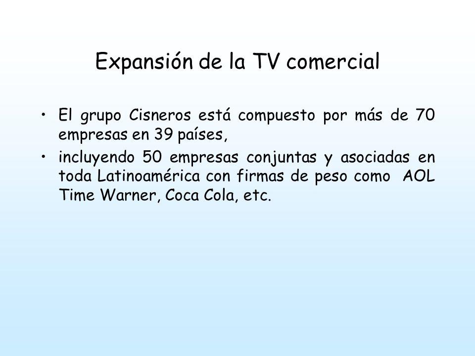 Expansión de la TV comercial Mientras estos grupos se consolidan y se expanden, surgen nuevos canales comerciales en Caracas, como Cadena Venezolana de TV: Canal 8 con capital nacional del grupo Vollmer y acciones de la CBS, Columbia Time-life;