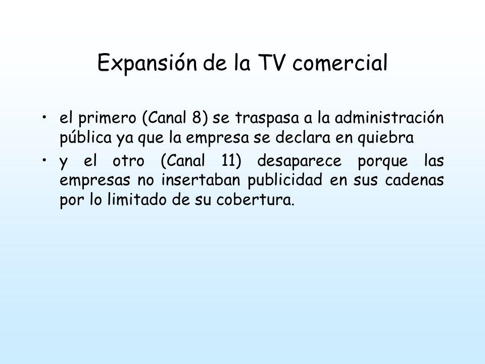 Expansión de la TV comercial el primero (Canal 8) se traspasa a la administración pública ya que la empresa se declara en quiebra y el otro (Canal 11) desaparece porque las empresas no insertaban publicidad en sus cadenas por lo limitado de su cobertura.