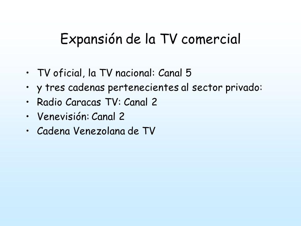 Expansión de la TV comercial TV oficial, la TV nacional: Canal 5 y tres cadenas pertenecientes al sector privado: Radio Caracas TV: Canal 2 Venevisión: Canal 2 Cadena Venezolana de TV