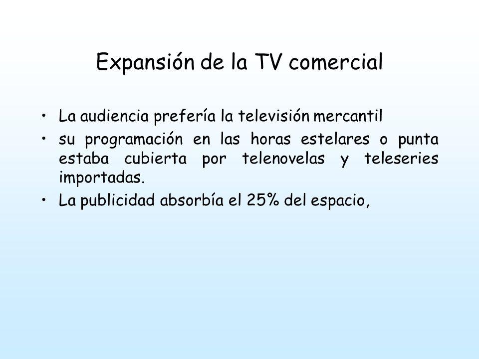 Expansión de la TV comercial La audiencia prefería la televisión mercantil su programación en las horas estelares o punta estaba cubierta por telenovelas y teleseries importadas.