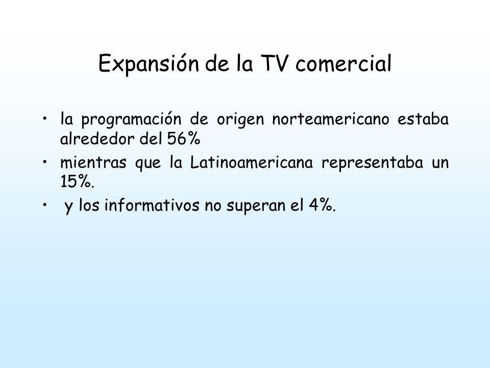 Expansión de la TV comercial la programación de origen norteamericano estaba alrededor del 56% mientras que la Latinoamericana representaba un 15%.
